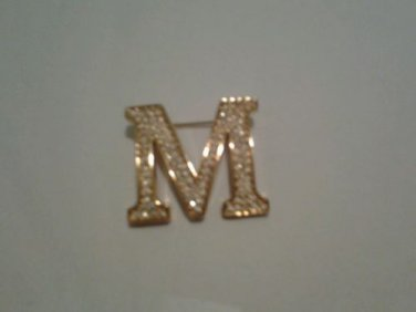 """Vintage Gold tone Letter Brooch / Pin w/ clear crystal stones Script  """"M"""""""
