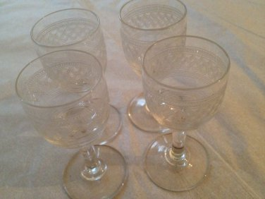 4 Vintage very small  wine/shoot glasses