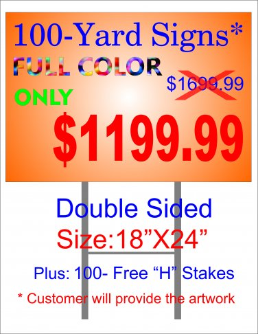 100 Full Color D/S yard signs