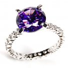 Purple Amethyst 925 Silver Ring W/ White CZ Pave Accents Eternity Band 10mm 4ct