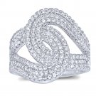 Large Micro Pave CZ 925 Sterling Silver Anniversary Cocktail Ring Luxurious!