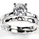 Round Cut Eternity Engagement Sterling Silver Wedding Ring Set 1.5ct New 6,7,8,9