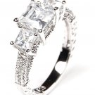 Sterling Silver ring CZ Princess Cut 3 Stone Past Present Future .925 Pave Band