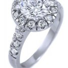 Sterling Silver 2 ct Round CZ Halo Engagement Wedding Ring w Round Accents