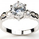 Round CZ Solitaire Sterling Silver Engagement Wedding Ring 1.5ct 6 Prong Set