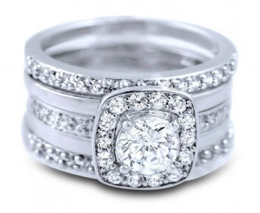 Sterling Silver CZ 5 piece Matching Bridal Ring Set Halo Stacked Round Cut