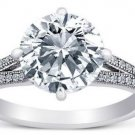 Round Cut CZ 925 Silver Engagement Micro Pave Wedding Ring Split Shank 10mm 4CT