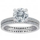 Sterling Silver Round Clear CZ Bridal Set Wedding Engagement Ring Set .925