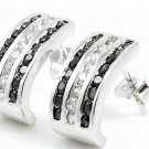 Sterling Silver Pave Hoop Earrings Black White CZ 925 3 Row Cubic Zirconia New
