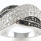 Criss Cross Black White Micro Pave CZ Ring Cubic Zirconia Wide  Sterling Silver