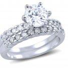 Round Cut CZ 925 Sterling Silver Bridal Wedding Ring Set 2-Pc 1.25 Carat