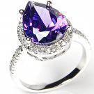 Amethyst CZ 925 Silver Ring 3 Ctw Pear Shaped W/ Pave Accents Cocktail Ring