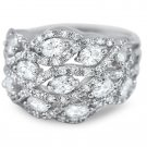 Silver Cubic Zirconia Big Chunky Fashion Ring Micro Pave Accents Oval Cut Stones
