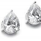Pear Cut 925 Sterling Silver Clear CZ Stud Earrings Post White Cubic Zirconia