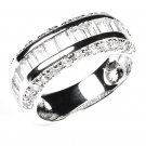 Baguette Round CZ Half Eternity White CZ Sterling Silver Ring Band Chanel Set