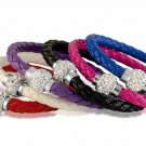 Faux Leather Bracelet Crystal Ball Fireball Magnetic Clasp Pleated Chose color