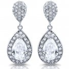Sterling Silver Pear Drop Dangle White CZ Drop Chandelier Earrings .925 Tear