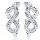 Small Hoop Micro Pave Infinity Symbol Sterling Silver Earrings Gorgeous Gift