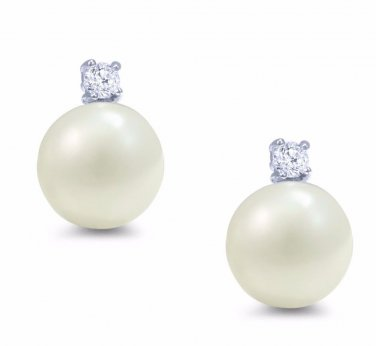 Women's Silver .925 Button Freshwater Pearl and Cubic Zirconia Stud Earrings 8mm