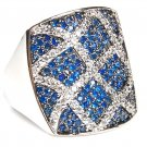 Blue Sapphire & White Micro Pave Large Ring CZ Sterling Silver Designer Big