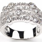 Art Deco Pave CZ Sterling Silver Cocktail Ring Wide Anniversary Band Bezel Set