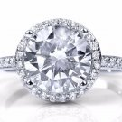 Sterling Silver Round Cut CZ Engagement Ring 3 ctw Halo Set w Accents