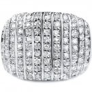 Wide Cocktail Band White Cubic Zirconia Large 925 Pave CZ Ring Sterling Silver