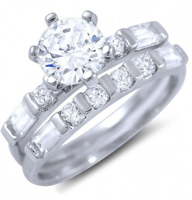 925 Sterling Silver Round CZ 2 piece Bridal Ring Set Round Baguette Accents 3Ctw