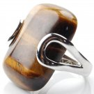Genuine Brown Tiger Eye Stone in Sterling Silver Ring Women Men Cats Eye Chunky