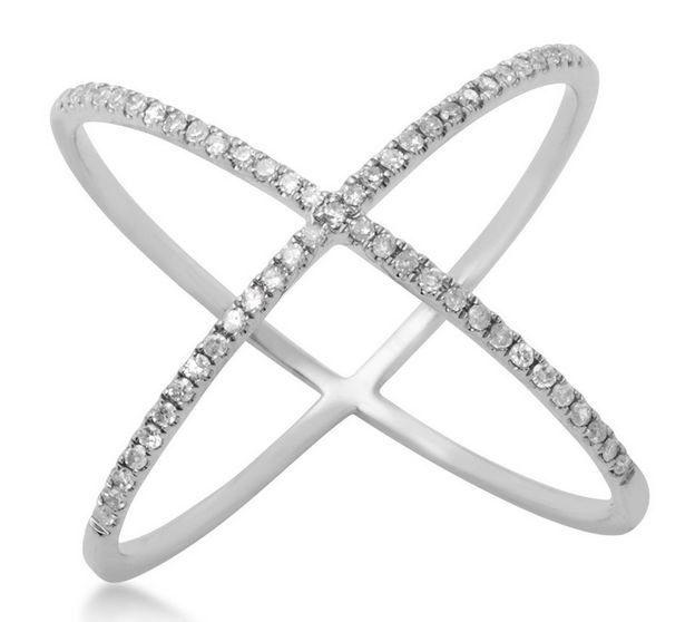 925 Sterling Silver Cubic Zirconia Wide 'X' CZ Ring Criss Cross Knuckle X Size 9