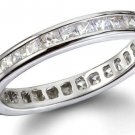 Channel Set Princess Cut Cubic Zirconia Eternity Band Sterling Silver CZ Ring