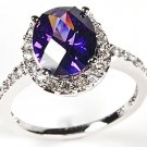 Sterling SIlver & White CZ Oval Purple Solitaire Halo Ring W Accents
