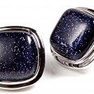 Sterling Silver 925 Blue Goldstone Post Stud Earrings Cushion 12 mm Classic
