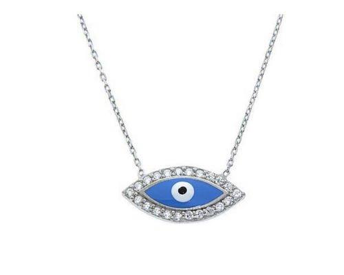 Sterling Silver Blue Evil Eye CZ Necklace Protection Pendant Charm women Kids