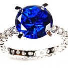 10 mm Round Cut Blue White Sapphire CZ Cubic Zirconia Sterling Silver Ring