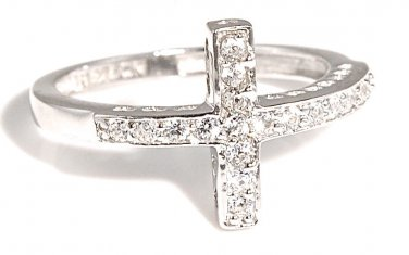 Sideways Sterling Silver Cross CZ Ring Cubic Zirconia Fashion Ring 925