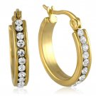 Yellow Gold Plated Inside Out White Cubic Zirconia Hoop Earrings Eternity All A