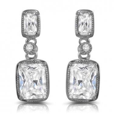 Classy Emerald Cut CZ Dangle Post Stud Earrings White Cubic Zirconia 20mm or 0.