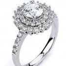 Double Halo CZ Wedding Engagement Ring Micro Pave Round Cut 925 Sterling Silver