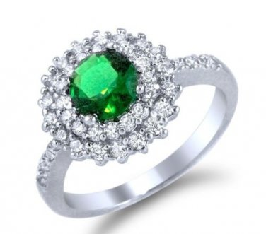 Round Green CZ  Stone in Double Halo Sterling Silver Engagement Bridal Ring