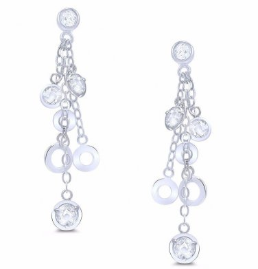 Long Sterling Silver Drop Bezel White CZ Dangle Earrings Set Multiple Strings