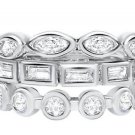 3 Stackable Cubic Zirconia Ring Set 925 Silver Round Marquise Baguette Bezel Set