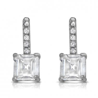 Princess Cut 2carat CZ Dangle Post Earrings White Cubic Zirconia 15 mm, 0.6&quo