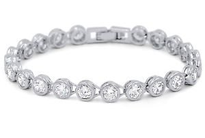 Cubic Zirconia Tennis Bracelet Bezel Set In Stainless Steel 7.5 Inch, 19cm