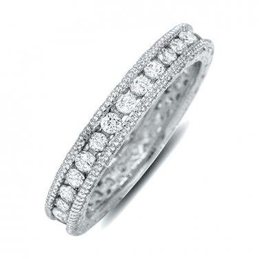 Round Cut Cubic Zirconia Cz Eternity Wedding Band Silver 925 Ring