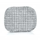 Chunky 925 Pave Cz Ring Sterling Silver Wide Cocktail Band White Cubic Zirconia