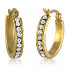 Yellow Gold Plated Inside Out White Cubic Zirconia Hoop Earrings Eternity All Ar