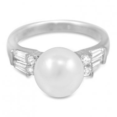 9Mm White Round Pearl With Cz Accents 925 Sterling Silver Ring