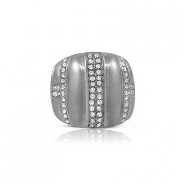 Sainless Steel Cubic Zirconia Large Cocktail Ring Pave Set Bold Chunky Ring
