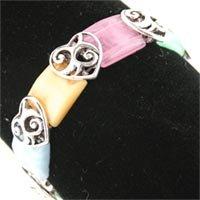 Multi Color Filigree Heart Bracelet.